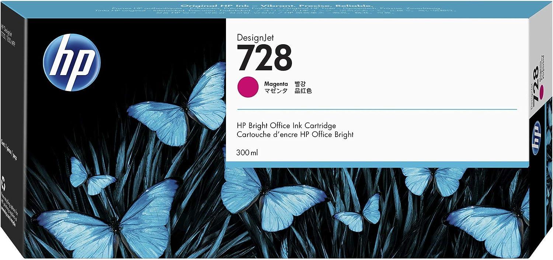 HP 728 Magenta 300-ml Genuine Ink Cartridge (F9K16A) for DesignJet T830 MFP & T730 Large Format Plotter Printers