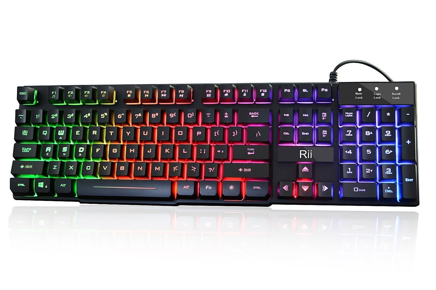 Rii RK100+ Multiple Color Rainbow LED Backlit Large Size USB Wired Mechanical Feeling Multimedia Gaming Keyboard by Rii
