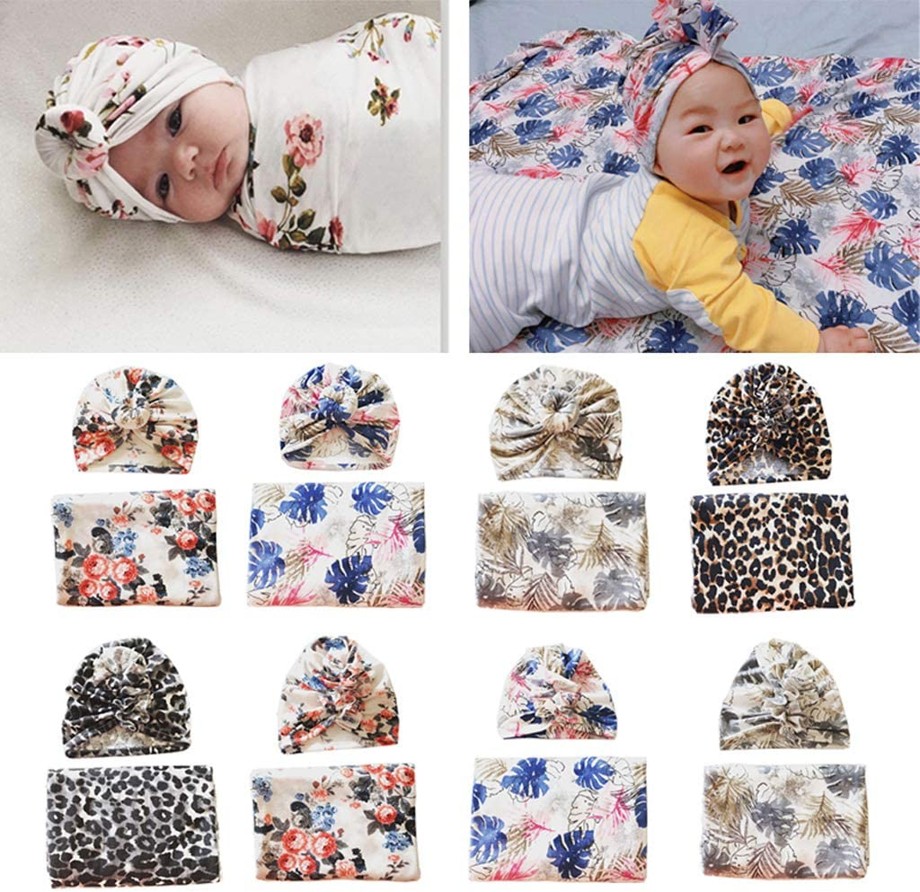 Cotton Swaddle Muslin Blanket Newborn Floral Wrap Swaddling Blanket 2Pcs Bath Towel Baby Bed Accessories