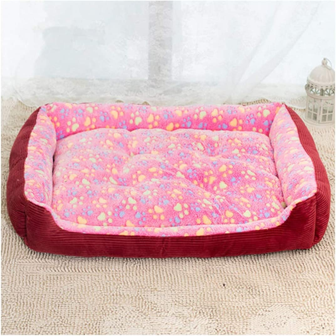 Corduroy Padded Waterproof Large Breed Dog Bed Sofa Mat Cat Pet Bed House for Large Dogs Blanket Cushion Kennel,Rose Red,XXS
