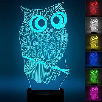 7 Changement Chouette 3d LedTicent Illusion Lampe D'optique Lampes wuOiTkXZPl