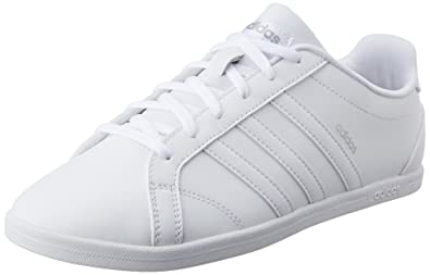official photos 6b552 b920b adidas neo Women s VS Coneo QT W Ftwwht and Msilve Leather Sneakers - 8 UK