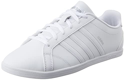 reputable site 84124 20972 adidas neo Womens VS Coneo QT W Ftwwht and Msilve Leather Sneakers - 8 UK