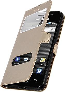 Tenphone Étui pour Samsung S5830 Galaxy Ace, Housse 2 fenetres, PU Cuir, Coque Noir en PVC (GT-S5830G / S5830M / S5830 / S5839i / S5831i) (Dore)