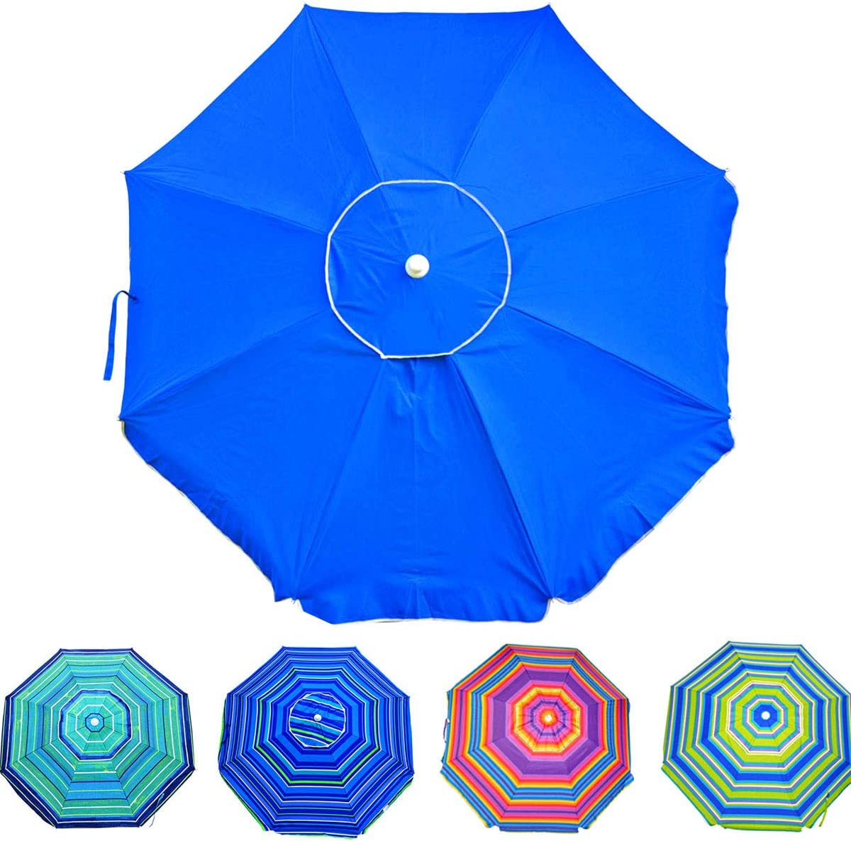 Deluxe 6.5 ft Beach Umbrella with Carry Bag, Steel Pole, Tilt, UPF 100 , Outdoor Portable Sun Shelter for Sand