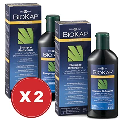 BIOKAP Champú Anticaída rinforzante 2 paquetes de 200 ml – Biosline