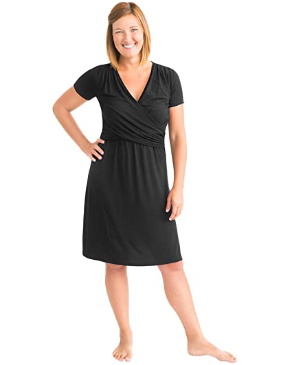 Kindred Bravely Angelina Ultra Soft Maternity & Nursing Nightgown Dress (Black, X-Small)