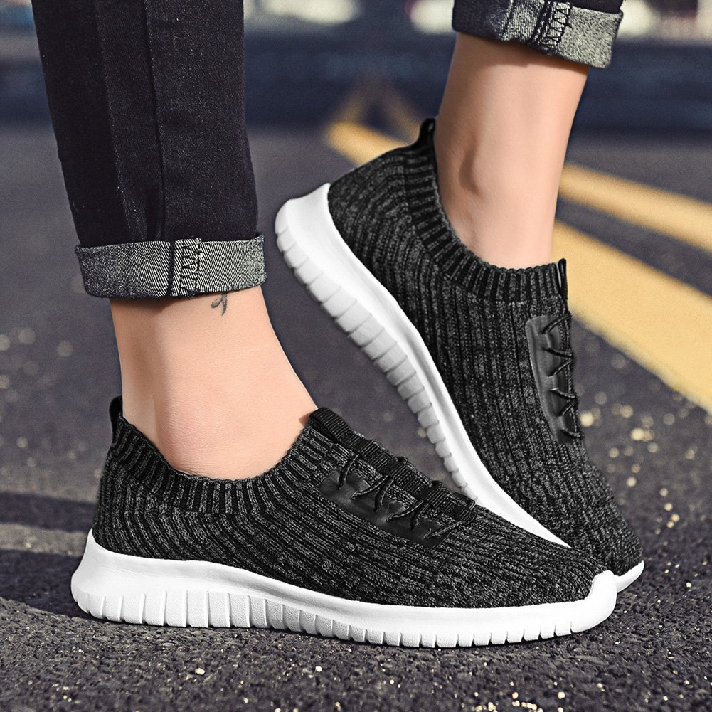 TIOSEBON Women's Lightweight Casual Walking Athletic Shoes Breathable B07B4S7G7C Flyknit Running Slip-On Sneakers B07B4S7G7C Breathable 7.5 B(M) US|2122 Deep Gray 516870