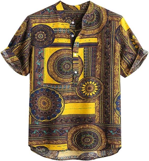 Dragon868 Camisas Hawaiana Hombre Manga Corta Estampada Vocación de Verano Tops: Amazon.es: Ropa y accesorios