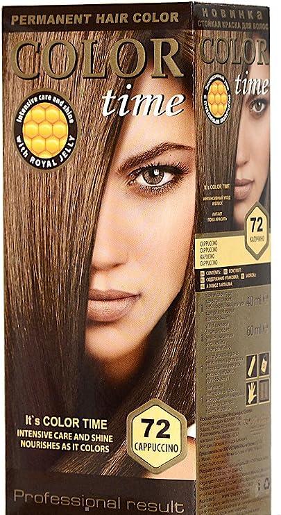 Color time, tinte permanente para el cabello de color capuchino 72
