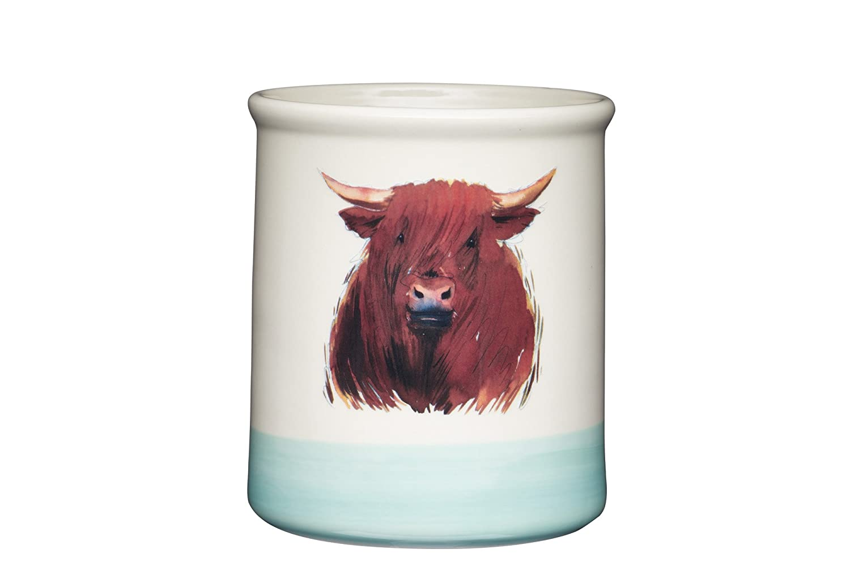 KitchenCraft Apple Farm Hand-Finished 'Hamish Highland Cow' Ceramic Utensil Holder, 12.5 x 12.5 x 14.5 cm (5