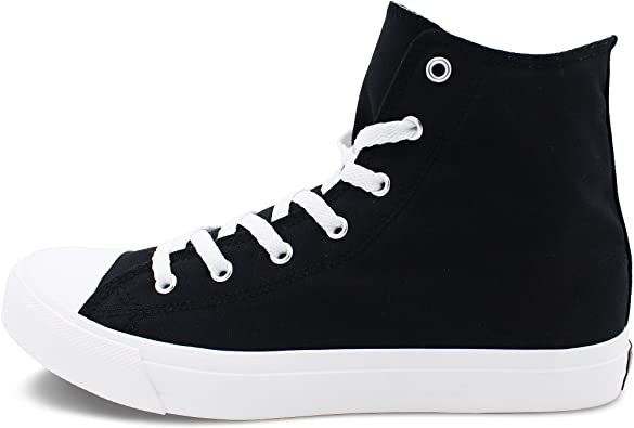 Wen Fire Classic Solid Color White Sneakers High Top Unisex Blank Black Canvas Shoes