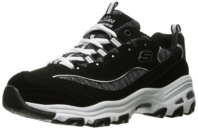 Skechers Damen D Lites Mich Zeit Fashion Sneaker  38.5 EU|Schwarz (Black/White)