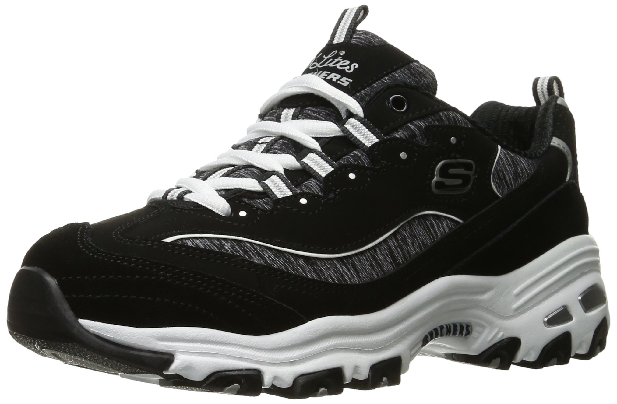 Skechers Sport Women's D'Lites Memory Foam Lace-up Sneaker,Me Time Black/White,9.5 W US