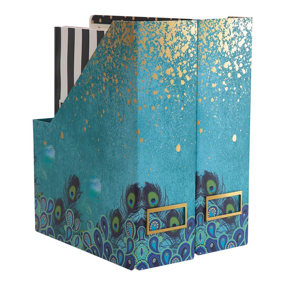 Blu Monaco Foldable Magazine File Holder with Gold Label Holder - Set of 2 Cardboard Magazine Holder Boxes - Peacock Magazine Organizer