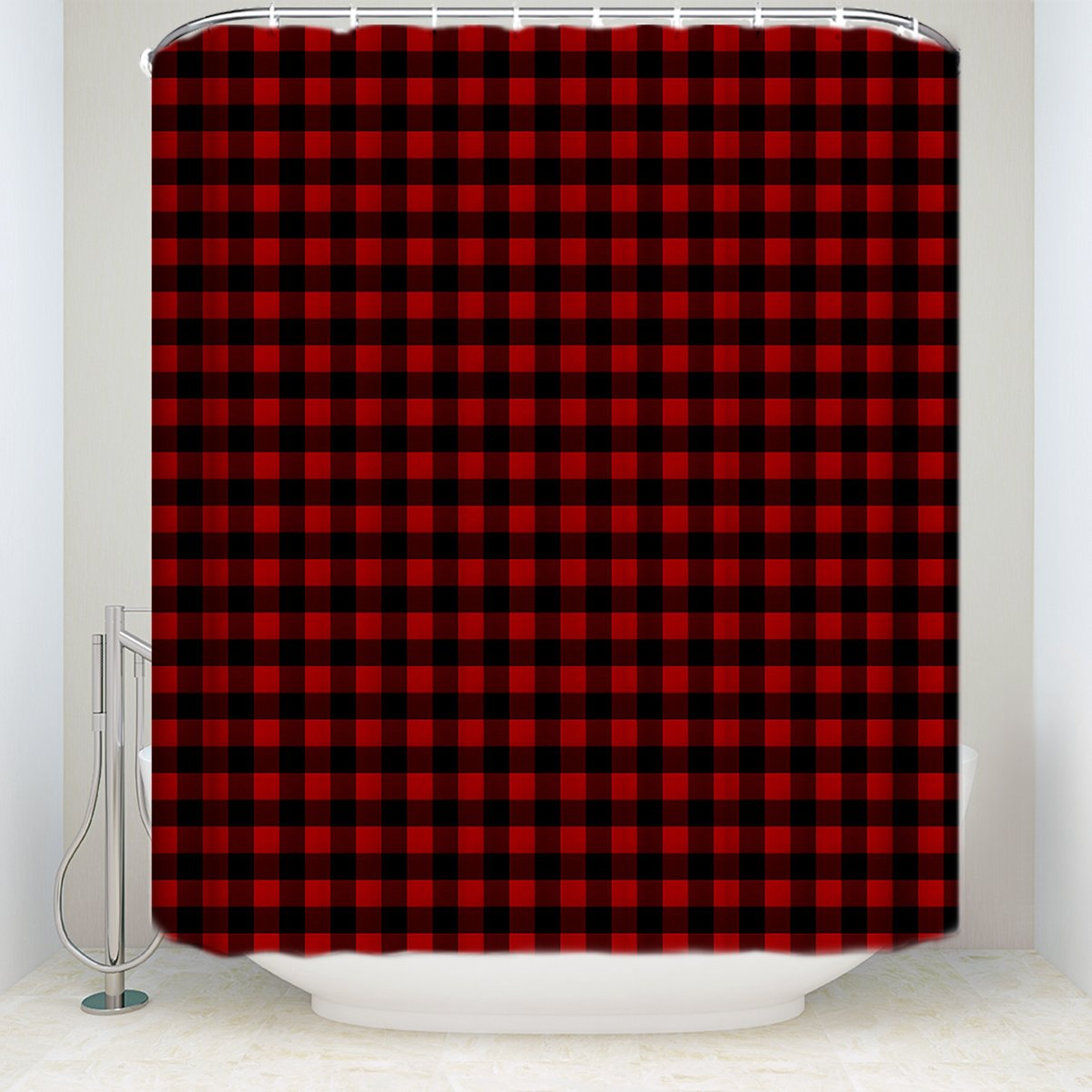 Mildew Resistant Waterproof Polyester Fabric Bath Curtains with Hooks Shower Curtain for Bathroom Showers and Bathtubs Red Black Buffalo Check Plaid Pattern 48 x 72 Inches