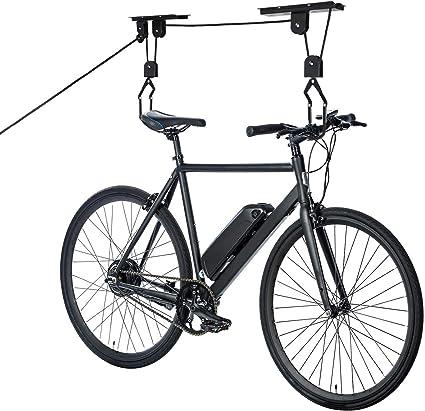 HENGMEI Soporte para bicicleta de hasta 20 kg, altura del techo de 4 m, con sistema de polea para garaje y sótano