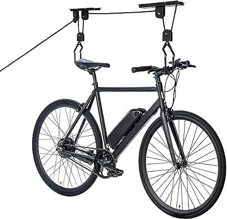Hengmei Soporte de pared plegable para bicicleta, ahorra espacio, con marco protector para bicicletas, garaje Negro, montaje en techo.: Amazon.es: Hogar