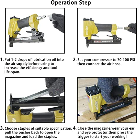 meite 7116B Upholstery Stapler 22 Gauge 3//8-Inch Crown 1//4-Inch to 5//8-Inch Length Fine Wire Stapler with Extra Driver Set 7116b
