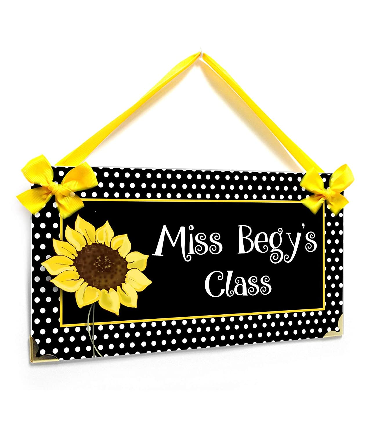Welcome Students Teacher Plaque White Dotted Sunflower Theme, Personalized Elementary School Pre-K Teacher Name Sign