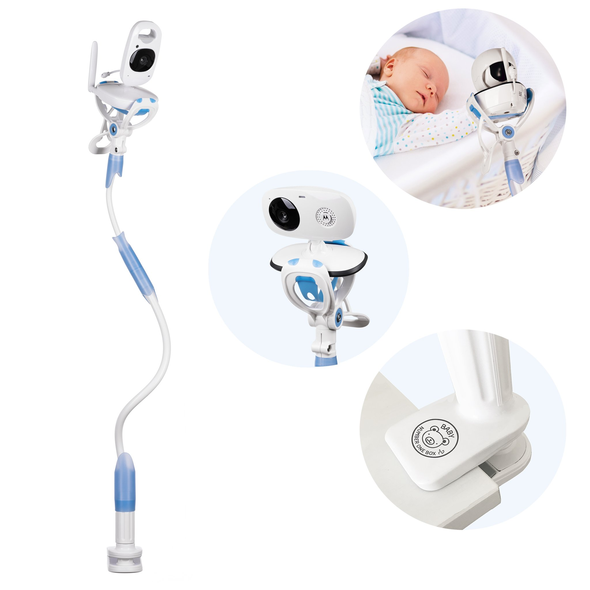 FlexxiCam Universal Baby Camera Mount, Infant Video Monitor Holder and Shelf - Flexible Camera Stand for Nursery Compatible with Most Baby Monitors