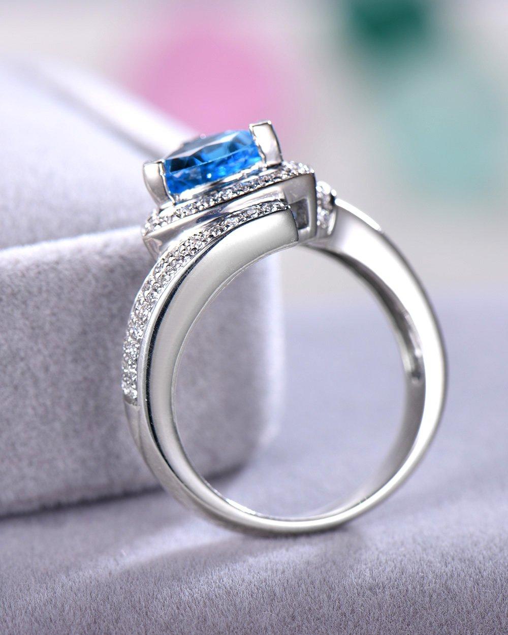 Blue Topaz Wedding Ring Trillion Cut 925 Sterling Silver White Gold CZ Diamond Halo Unique Engagement Set by Milejewel Topaz Engagement Ring (Image #5)