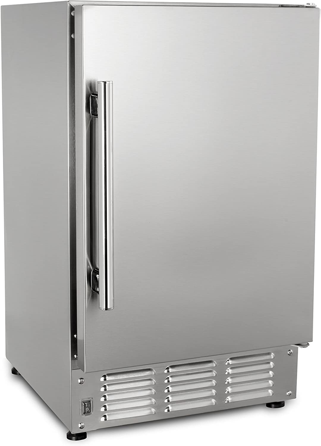 Maxx Ice MIM25-O 14.6 22lb Outdoor and Marine Compact Crescent Ice Maker Stainless Steel Exterior Built-In Undercounter or Countertop, 14.6 Inch Wide, Silver 710LF0-F0sLSL1500_