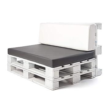 Conjunto colchoneta para sofas de palet Ceniza y respaldo Blanco (1 x Unidad) Cojin relleno con espuma.   Cojines para chill out, interior y exterior, ...
