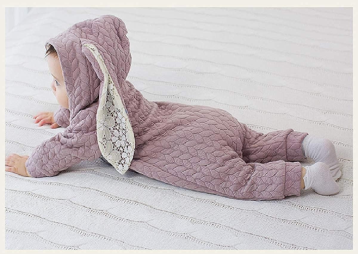 YUNY Newborn Baby Fall Winter Zip Up Cute Rabbit Pants Romper Playsuit Khaki 80