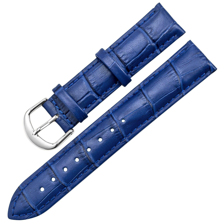 Ton charme本革バンドステンレススチールバックルの選択14カラー16 / 18 / 19 / 20 / 21 / 22 / 24 mm 20mm ブルー 20mm|ブルー ブルー 20mm B07228DXCY