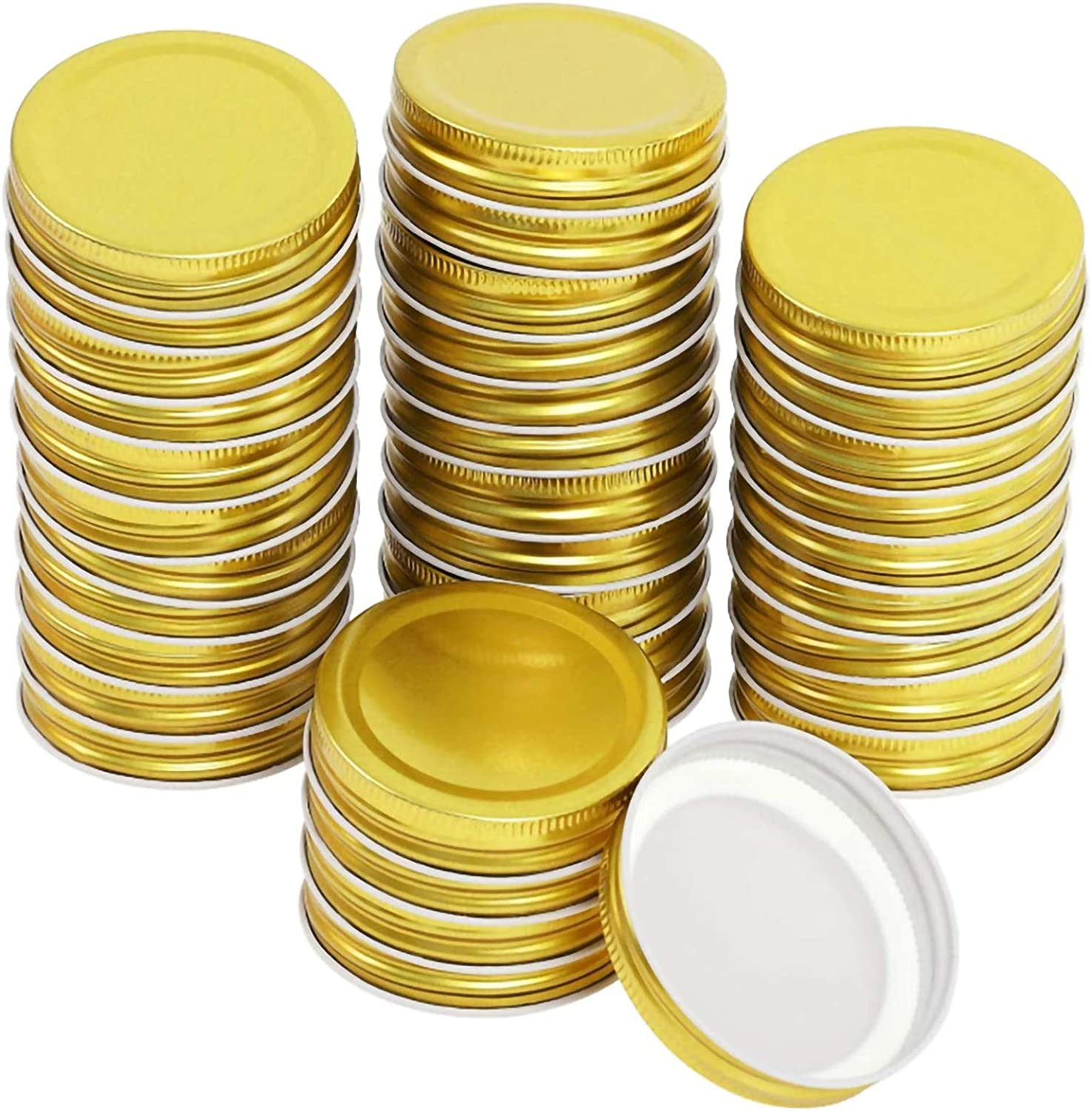 36 Packs Canning Lids, Regular Mouth Mason Jar Lids, Reusable and Leak Proof Stainless Steel Regular Mouth Mason Storage Canning Lids,for Food Storage Canning Jar Lids (2.76 in/7cm, Gold)