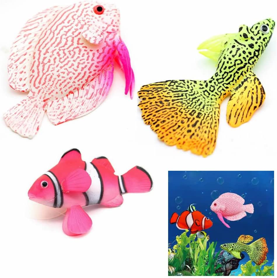 gootrades 3 Pcs/Set Artificial Fish Glowing Effect Aquarium Decor Floating Ornament