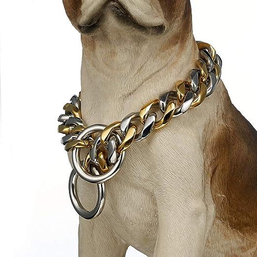 UTOPIAY Collares Dos Tonos de Cadena para Perro de 19 mm, Acero ...