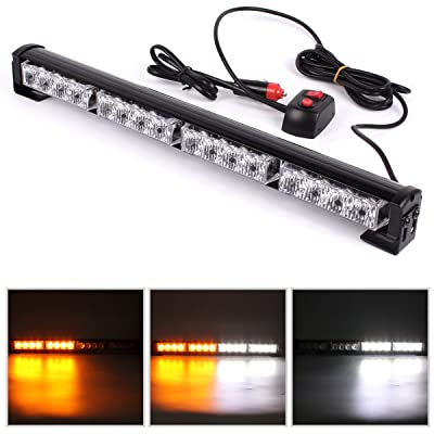 GES 16 LED Flashing LED Lights, 18 Inch Emergency Vehicle Light 7 Flashing Modes Flash Lights, Warning Traffic LED Light for Car Truck (White and Yellow): Automotive [5Bkhe0816893]