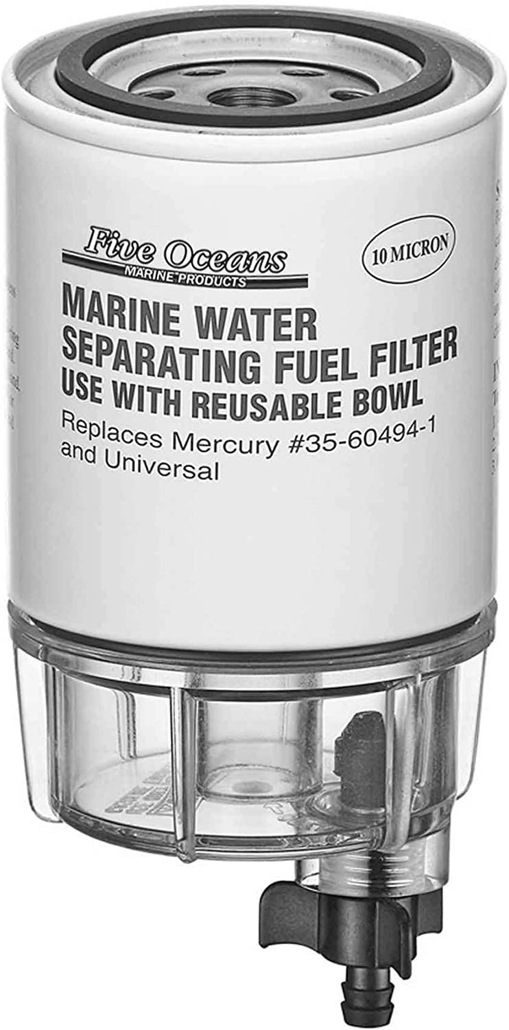 Marine 10 Micron Fuel Water Separating Filter W// See Thru Plastic Bowl Outboards