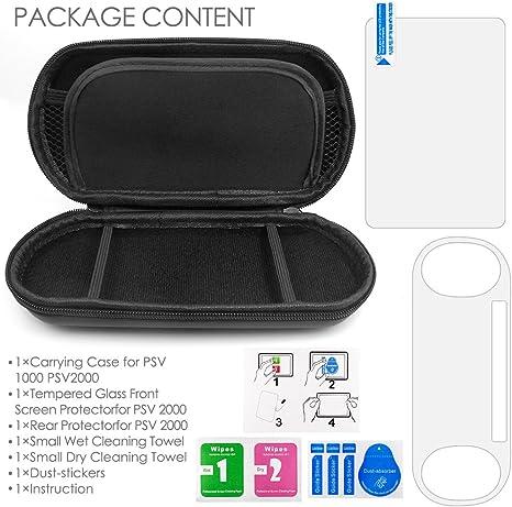 Funda Protectora para Sony PlayStation Vita 2000, AFUNTA 2 piezas de Vidrio Templado para Pantalla Frontal y Película de PET para la Parte Posterior, 1 Funda de Transporte EVA: Amazon.es: Electrónica