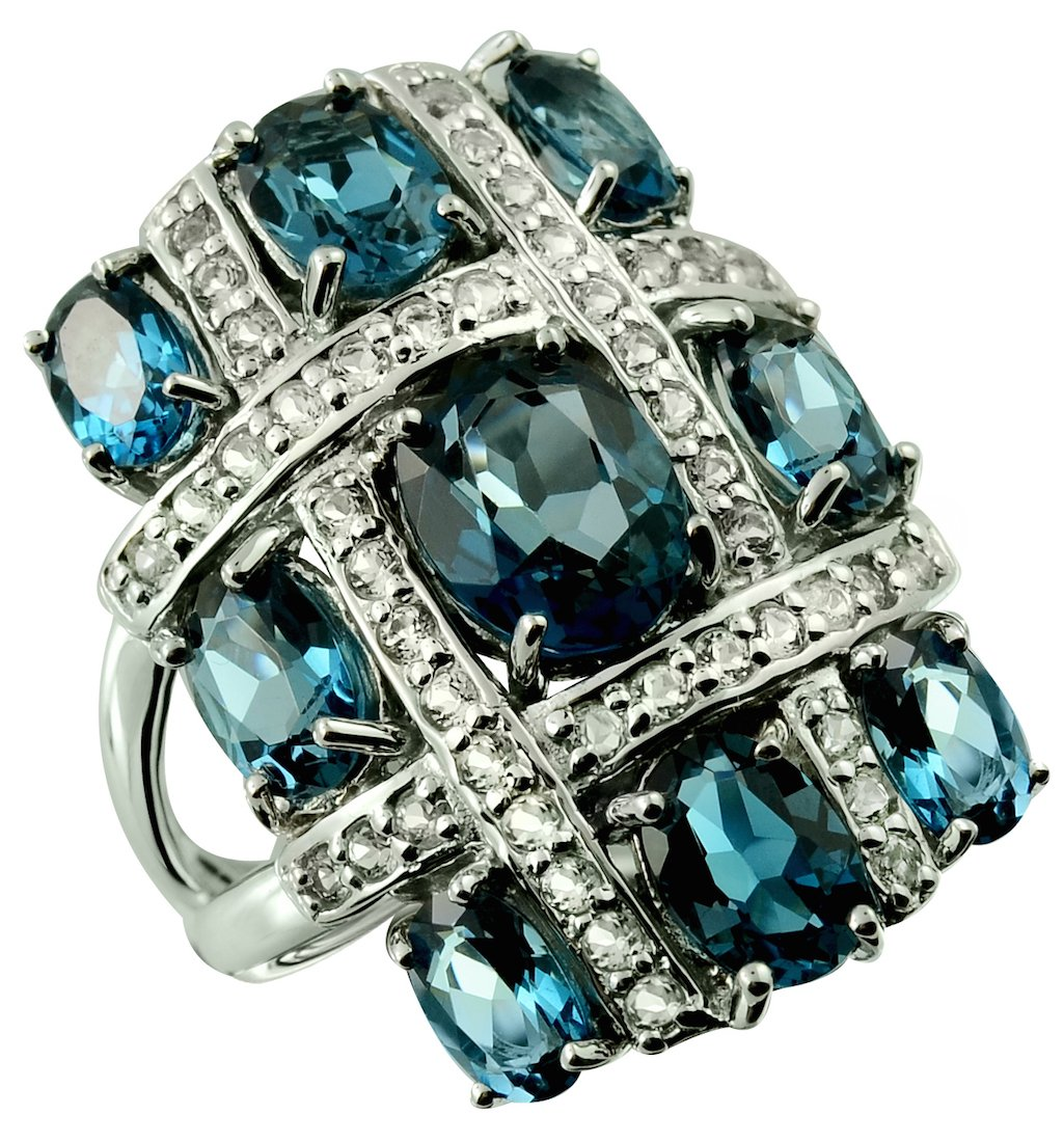 Sterling Silver 925 STATEMENT Ring LONDON BLUE TOPAZ and WHITE TOPAZ 9.78 Cts with RHODIUM-PLATED Finish, CLUSTER Style (8) by RB Gems
