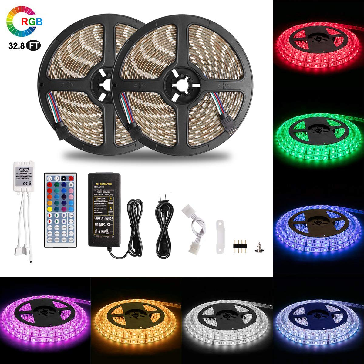 LED Strip Lights,Dimmable Multicolored LED Lights Kit 32.8ft/10m, 600LEDs,5050RGB,12V IP65 Waterproof with 44Key Remote Controller for Home,Kitchen Decoration (Waterproof 32.8ft/10m Light Strip)