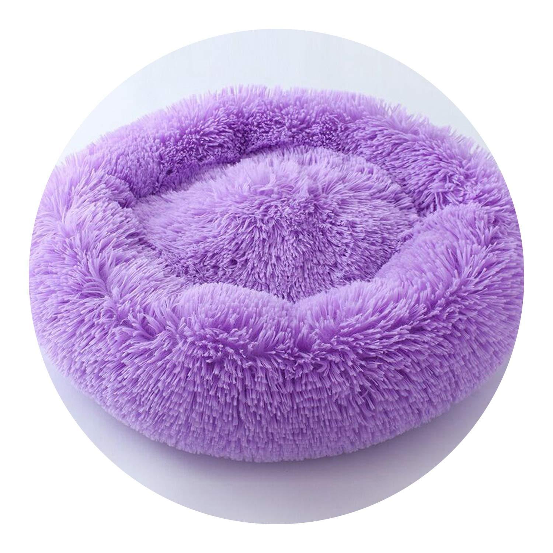Purple 50X50M Purple 50X50M Winter Dog Bed Soft Warm Luxury Donut Dog Bed for Small Medium Dogs Cat Bed,Purple,50X50M