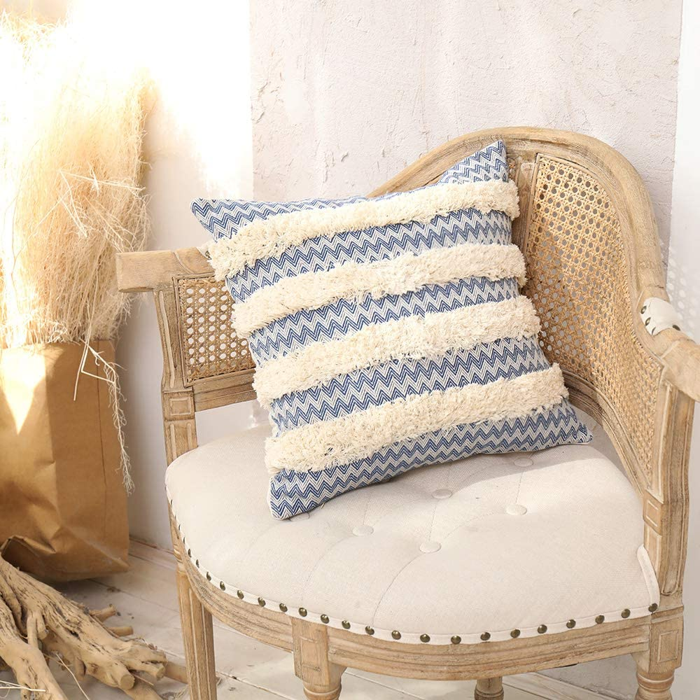 JASEN Black Striped Decorative Square Pillows Cover, 18x18 Inches Boho Tufted with Simple Tassels Modern Home Decor Morocco Seat Cushion Case Blue