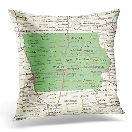 Iowa Map With Highways.Amazon Com Emvency Throw Pillow Covers America Iowa Map Shows State