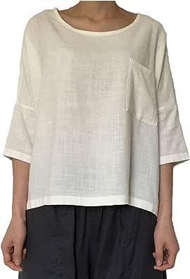 Aeneontrue Women's Linen Cotton Casual Short Sleeve Tops T-Shirts Blouses Tees