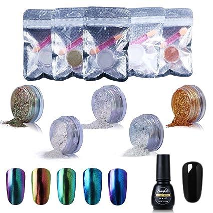 FairyGlo Esmalte de Uñas Semipermanente Polvo de Espejo para Uñas 5pcs Manicura Soak off