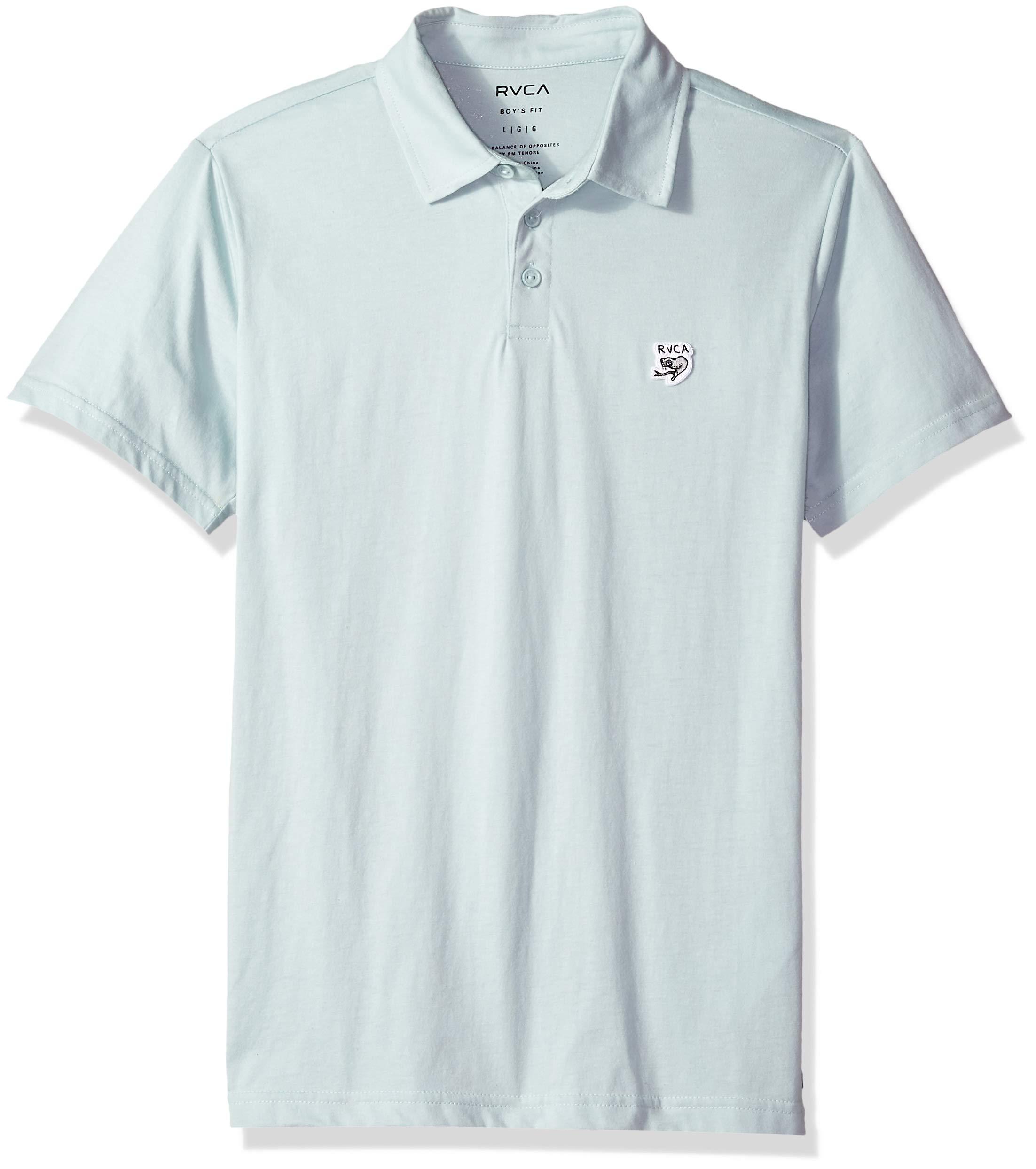 RVCA Boys' Big Sure Thing ANP Polo Shirt, Ether Blue, L