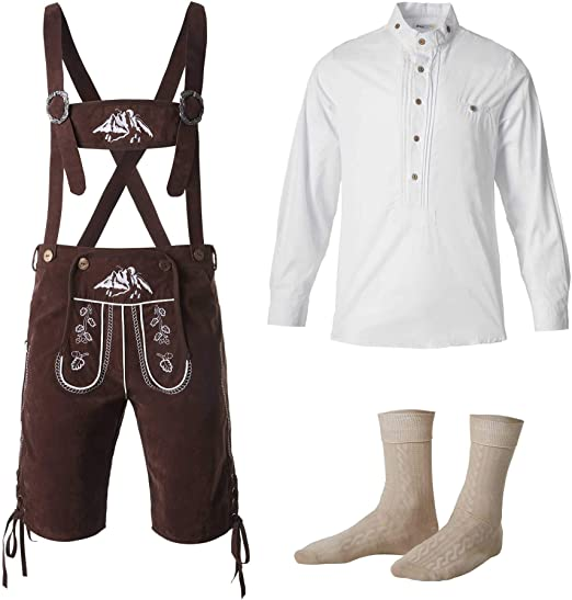 dressforfun 950003 Traje Regional Alemán para Hombre, Conjunto Tres Piezas, Pantalón Marrón con Tirantes, Camisa Blanca & Calcetines (Pantalón S | Camisa S | No. 350210): Amazon.es: Productos para mascotas
