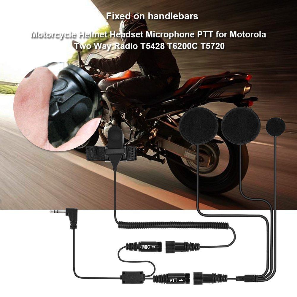 Zerone Casco de motocicleta de media cara con auriculares PTTT para Motorola Radio de dos v/ías T5428 T6200C T5720