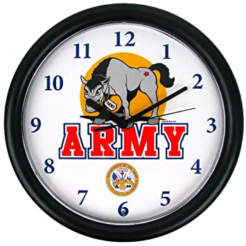 NCAA 80 12500 Deluxe Chiming U.S. Army Clock Featuring Mule Mascot