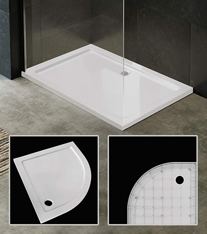 Plato de ducha ultraplano de acrílico blanco, rebajado, con solo 3 ...