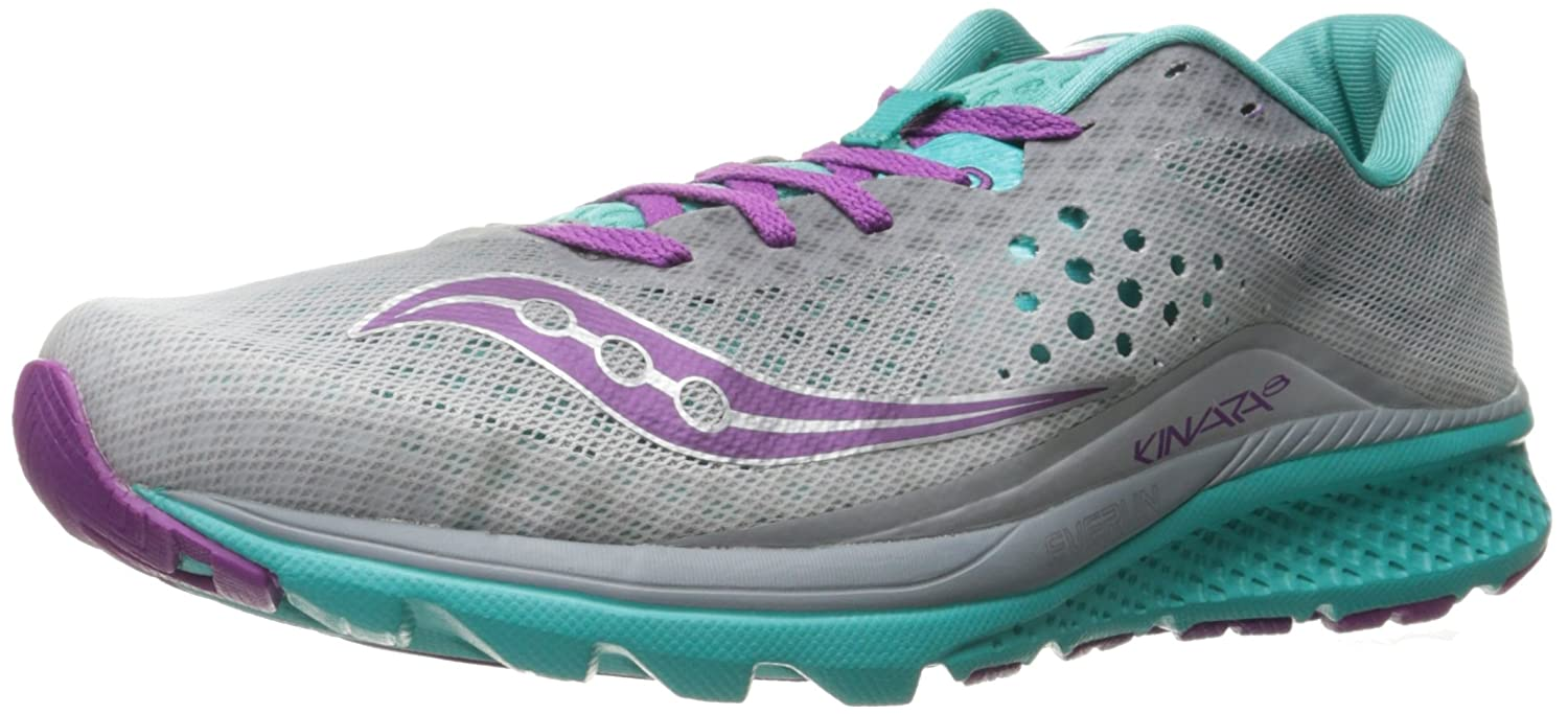 Saucony Women's Kinvara 8 Running Shoe B01GIQKFN6 7 B(M) US|Grey/Teal/Purple