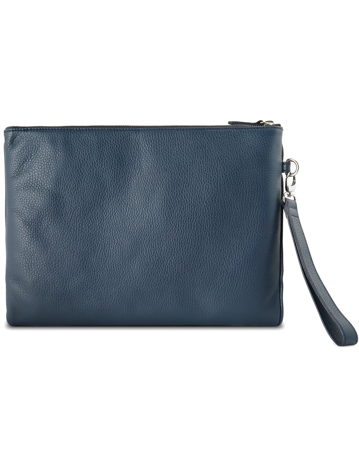Grained Leather Double Zip Folio Blue